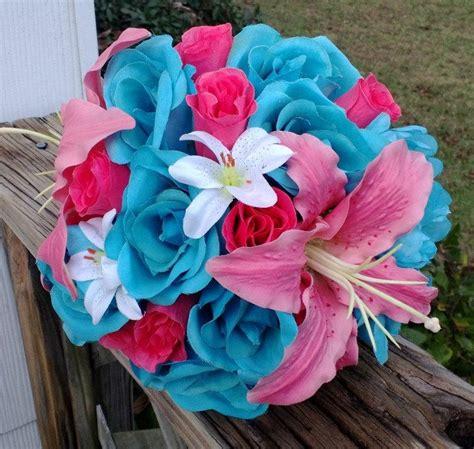 Set Lili Blue Pink malibu blue pink coral wedding bouquet