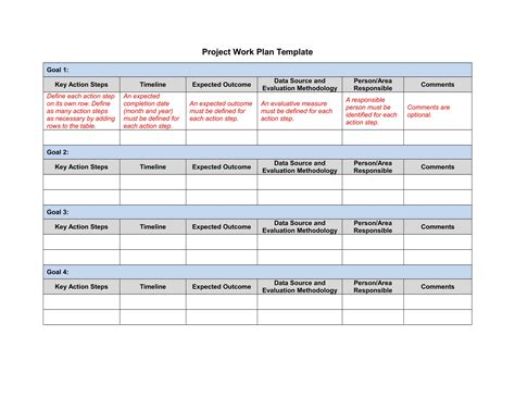 9 Project Action Plan Exles Doc Project Work Plan Template