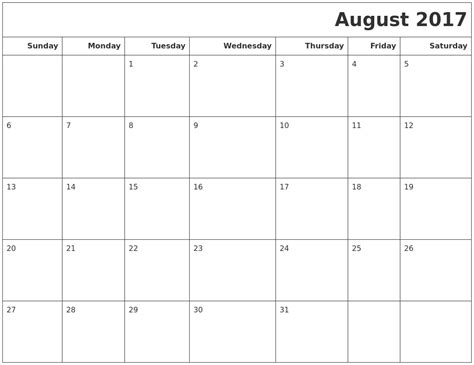 printable calendar august august 2017 calendars to print