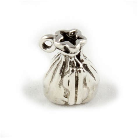 money bag charm 3d sterling silver charms