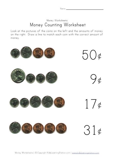 Coin Values Worksheet by Worksheets For Learning Coins Money Value Homeschool 4