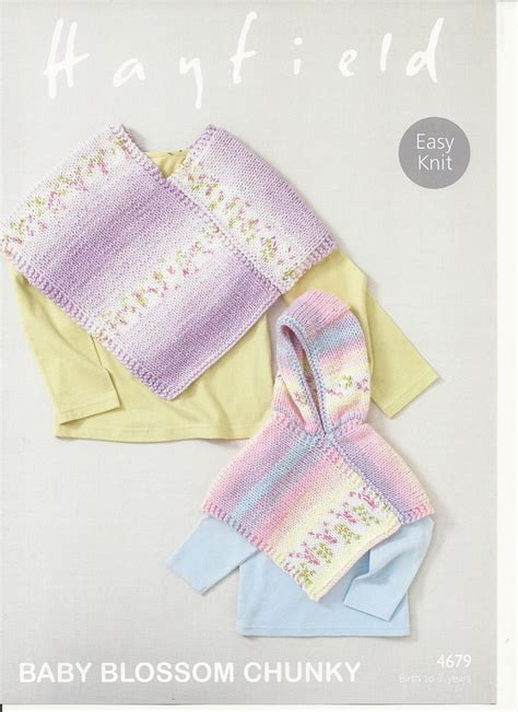 hayfield knitting patterns for babies hayfield ponchos knitting pattern in baby blossom chunky 4679