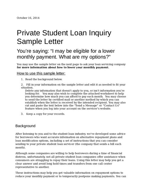 Student Loan Negotiation Letter sle letter to student loan company docoments ojazlink