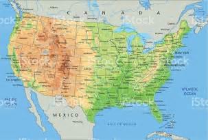 alta dettagliata fisica mappa di stati uniti damerica