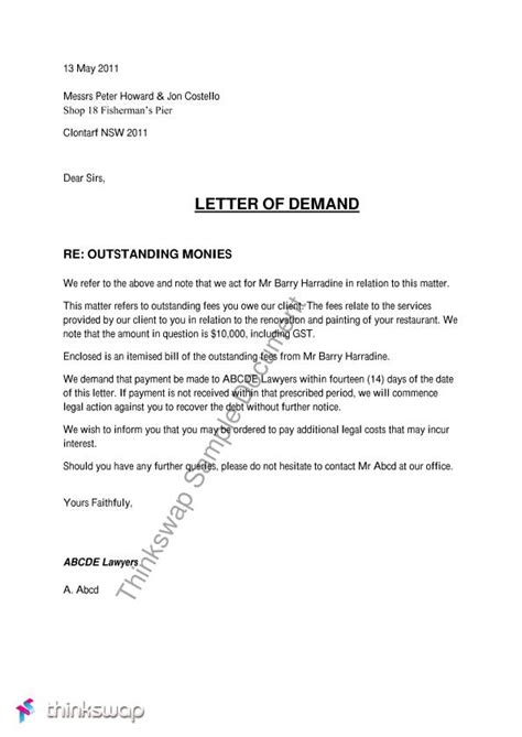 Business Letter Of Demand Template best photos of business demand letter sle eviction