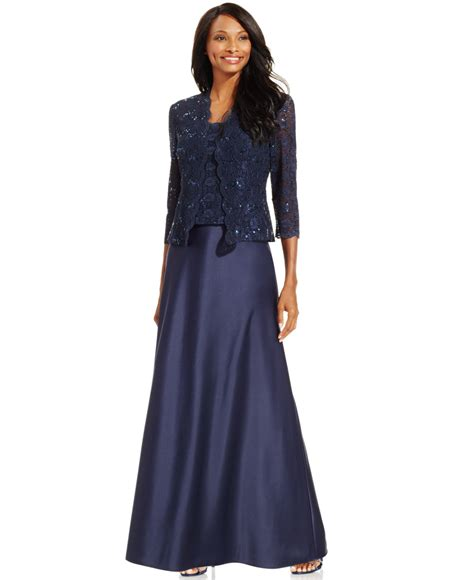 Sequin Sleeve Avail In 3 Colours Place 08 alex evenings sequin lace satin gown and jacket in blue lyst