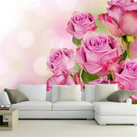 Wallpaper Stiker Motif Colour Pink Flower 1 custom 3d murals beautiful pink color roses flowers