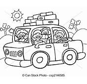 Clipart Vector Of Road Trip Line Art  Family Going For A