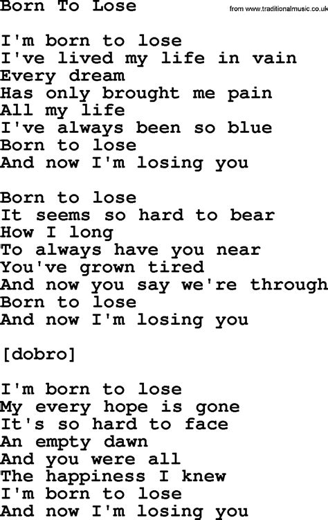 song lyrics willie nelson willie nelson song born to lose lyrics