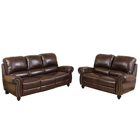 Leather Reclining Sofa And Loveseat by Abbyson Living Herzina Leather Pushback Reclining Sofa And