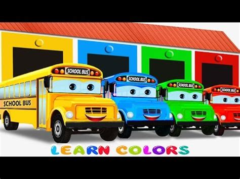 color of school buses learn colors with school for color garage