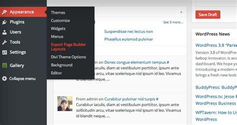wordpress export layout divi layouts saving importing and exporting