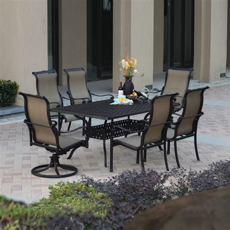 Metal Patio Dining Sets with Shop Darlee Monterey Bay 7 Antique Bronze Aluminum Patio Dining Set At Lowes