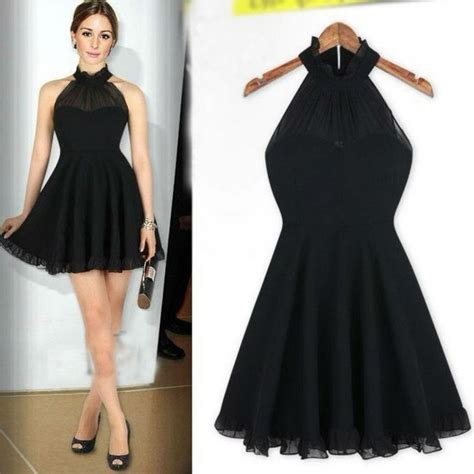 black halter neck casual evening dress dress