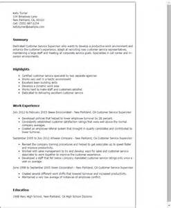 Airline Customer Service Sle Resume by Professional Customer Service Supervisor Templates To Showcase Your Talent Myperfectresume