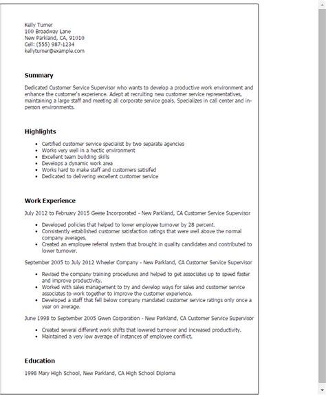 customer service supervisor resume sle sle resume for customer service representative call