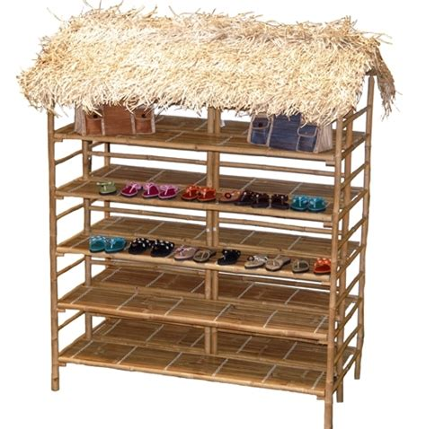 Tiki Hut Tans Large Bamboo Display Rack With Thatch Roof Retail