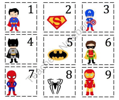 Printable Superhero Number Cards | super hero number cards preschool printables