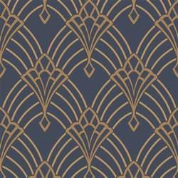art deco wall astoria art deco wallpaper dark blue gold rasch 305340