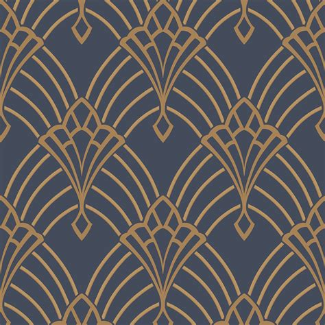 deko tapete astoria deco wallpaper blue gold rasch 305340