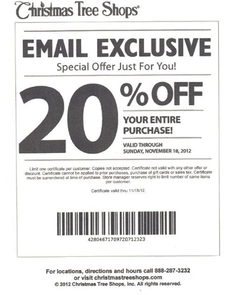 christmas tree shop coupons 20 off christmas decore