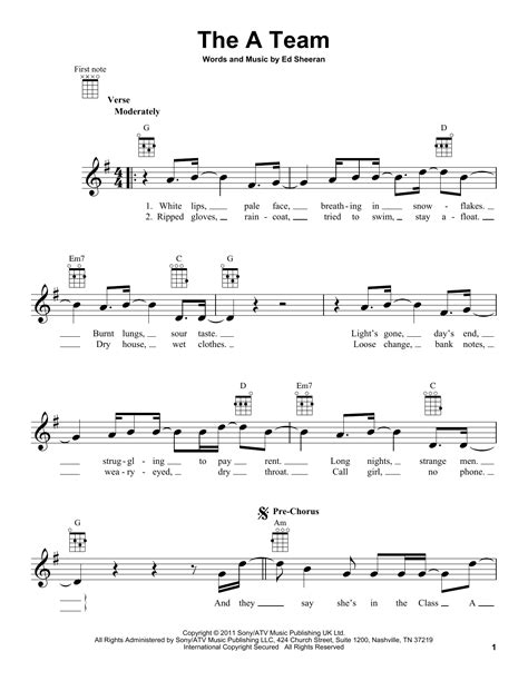 ed sheeran chords a team the a team sheet music by ed sheeran ukulele 158866