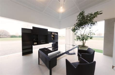 Modern Office Space by Modern Black Office Space With Juvenille Tree In Pot And