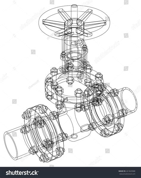 layout vector rendering industrial valve detailed vector illustration isolated