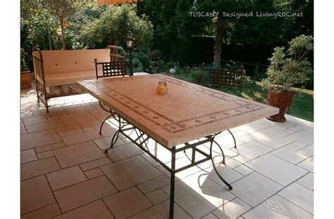 """78"""" Outdoor Patio Dining Table Italian Mosaic Stone Marble"""