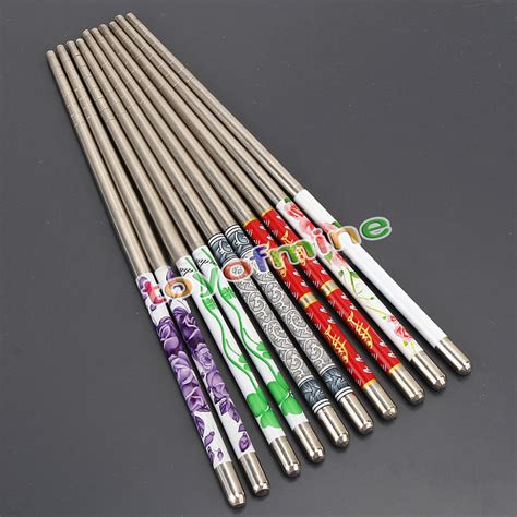 Pretty White 1 Set 5 Item 5 pairs stainless steel chopsticks blue and white porcelain beautiful gift set assorted 10 chop