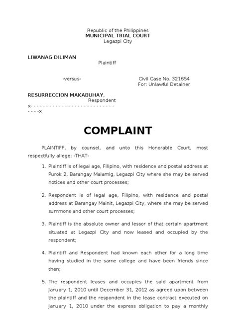 Complaint Letter Sle In The Philippines Sle Complaint For Ejectment Doc Plaintiff