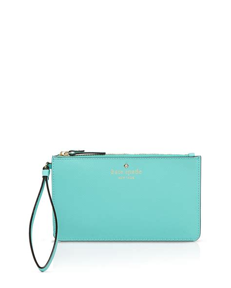 lyst kate spade new york wristlet cedar slim bee in blue