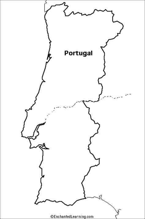 printable map portugal outline map portugal enchantedlearning com