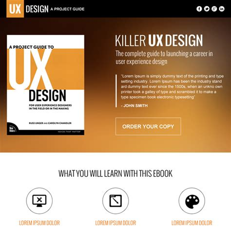 design online book e book landing page design templates to increase sales of