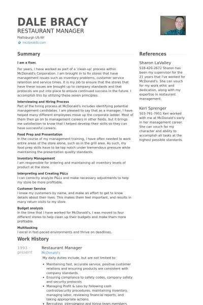 Resume Sle For Restaurant Captain G 233 Rant De Restaurant Exemple De Cv Base De Donn 233 Es Des Cv De Visualcv