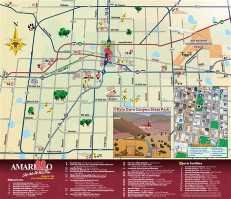 texas attractions map attractions in amarillo texas map amarillo tx mappery