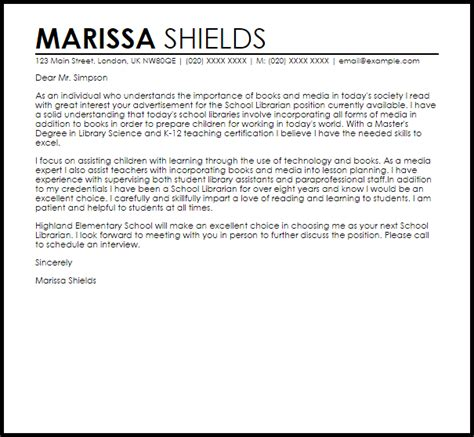 Librarian Cover Letter Sample   Best Letter Sample