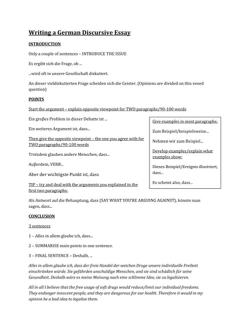 Writing Discursive Essay German 100 Writing A German Discursive Essay By Jarlford Teaching