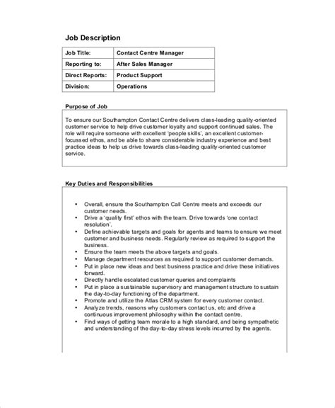 Call Center Manager Description call center description 11 free word pdf documents free premium templates