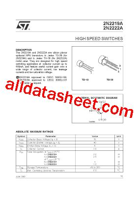 transistor equivalent book ebook 2n2219a datasheet pdf stmicroelectronics