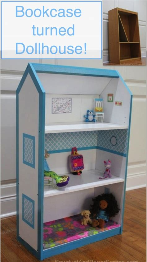 turn a bookcase into a dollhouse sawdust paper scraps