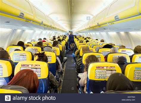 ryanair cabin interior of ryanair cabin in flight stock photo royalty
