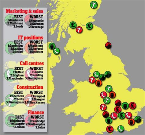 Best Place To Find A New Job the map of the uk that reveals the best and worst places
