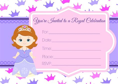 printable invitations of sofia the first sofia the first birthday invites