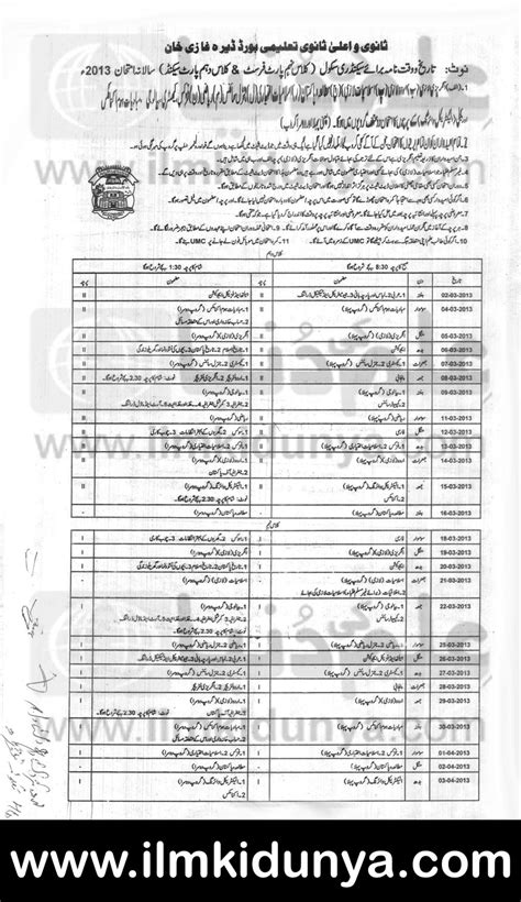 f a supplementary date sheet 2015 bise dg khan board matric inter date sheets 2017