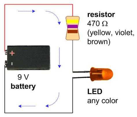 what is a resistor used for in led a schematic with a 9v battery 470 ohm resistor and a single led of any color maker ideas