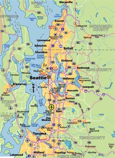 seattle map of usa map of seattle johomaps