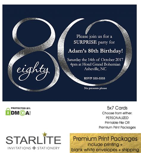 free invitations for 80th birthday navy and silver 80th birthday invitation modern number