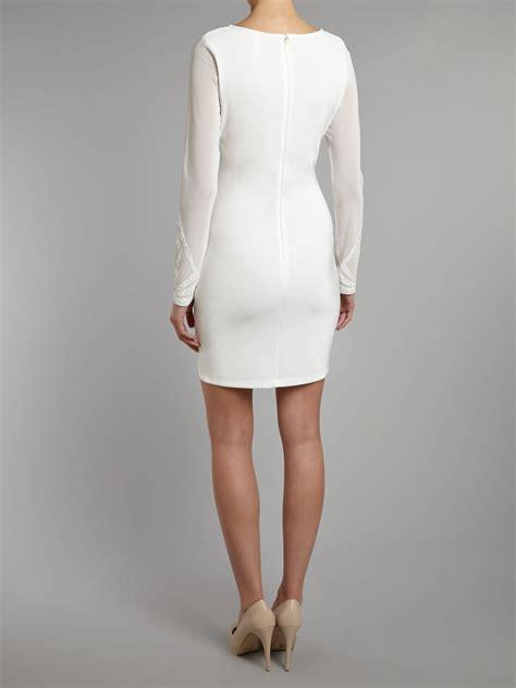 pattern for white dress lipsy sequin pattern mini dress in white lyst
