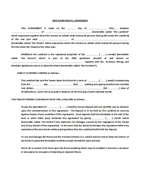 Agreement Letter For Renting A Room room rental agreement template 11 free word pdf free